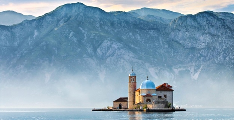 Our Lady of Rocks, view from Perast